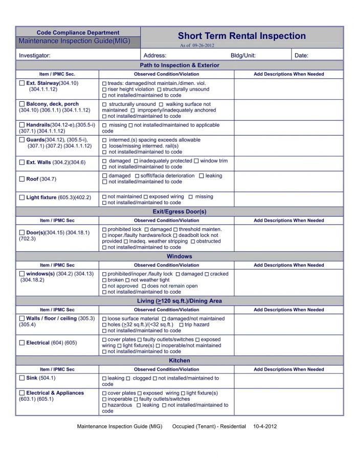 Str Inspection Checklist Template Pdf Rental South Africa Landlord Editable Property Word Doc  Sample Short Term