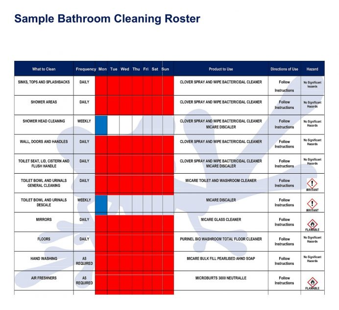 Sample Bathroom Cleaning Roster Template Word Checklist Monthly Toilet Excel Log Free Download Printable Restroom Washroom With Pictures