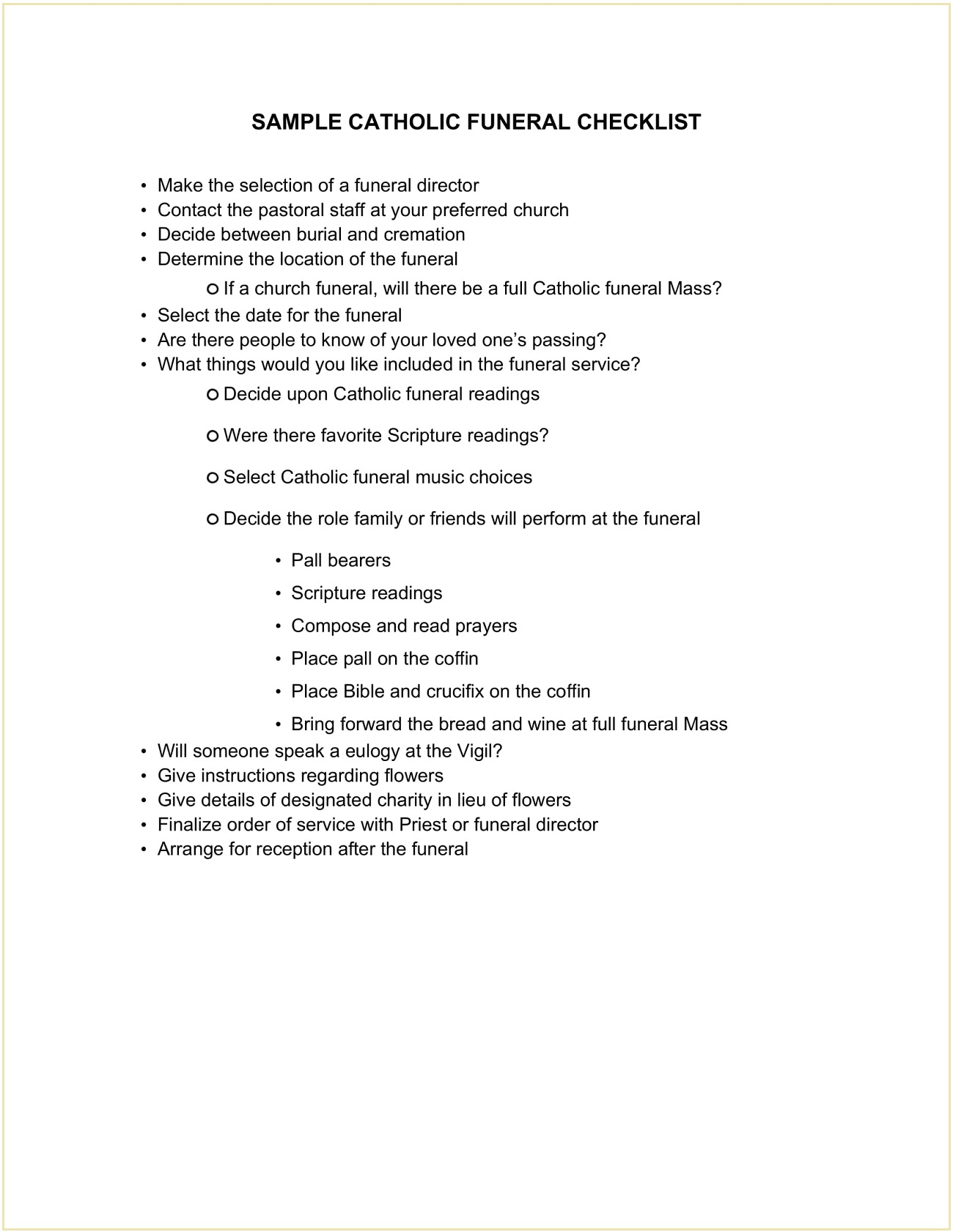 Sample Catholic Funeral Planning Checklist Template Word