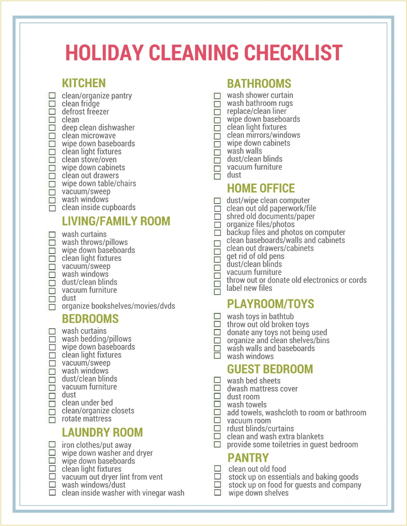 Sample Christmas Cleaning Checklist Template PDF