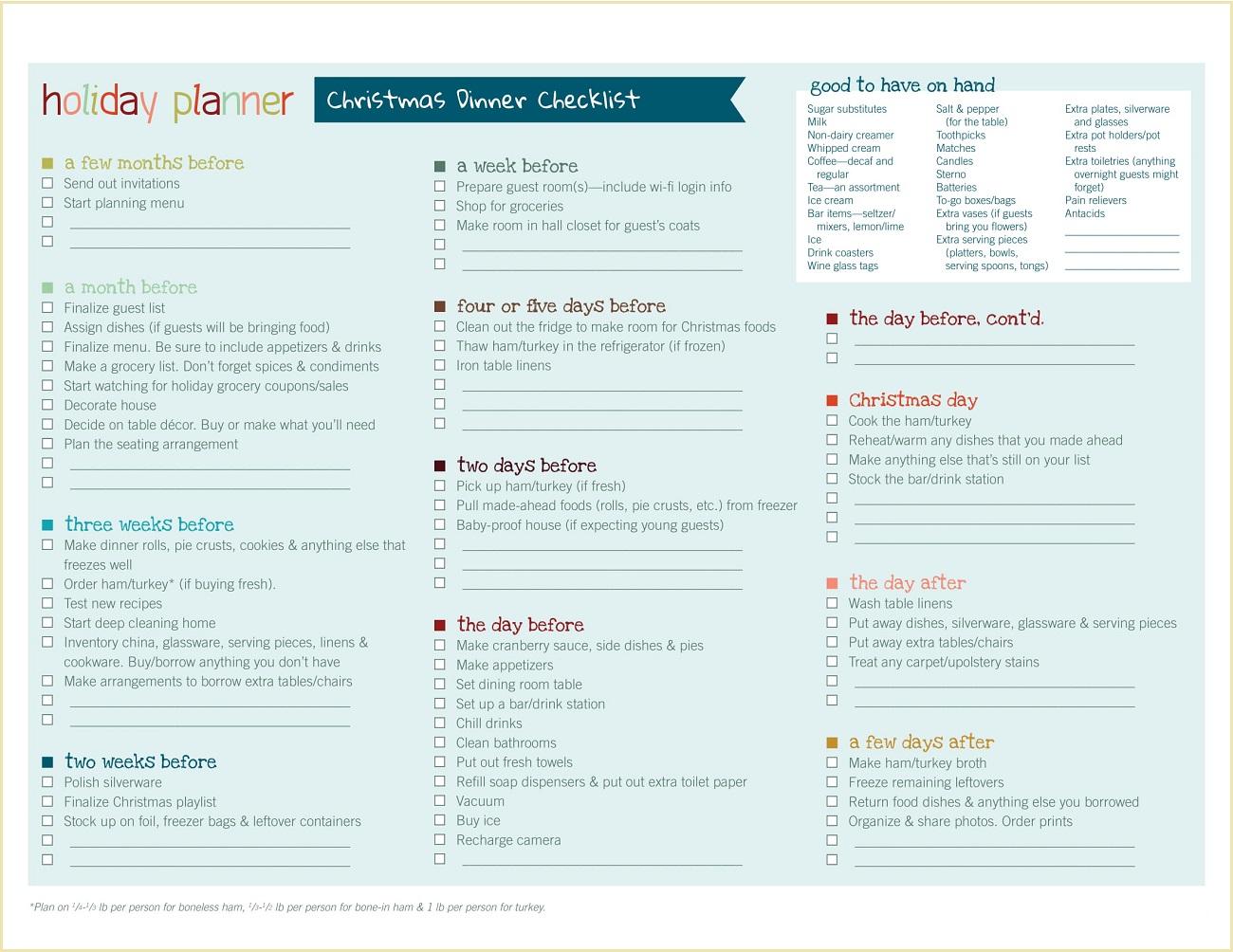 Sample Christmas Dinner Checklist Template PDF