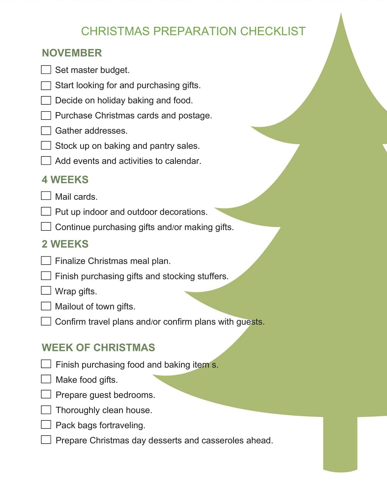 Sample Christmas Preparation Checklist Template Word Doc