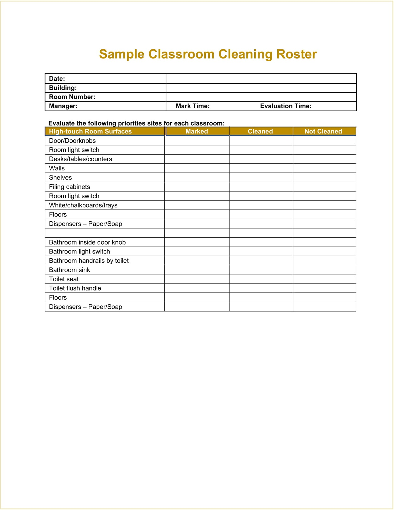 Sample Classroom Cleaning Roster Template Word