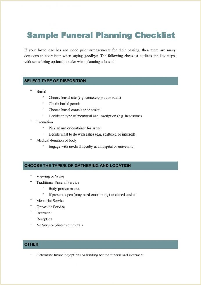 Sample Funeral Planning Checklist Template Word Checklist Funeral Planning Checklist Template Example