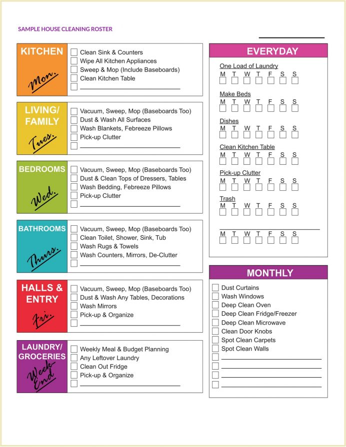 Sample House Cleaning Roster Template Pdf Checklist Hourly Schedule Free Printable Office Monthly  Example