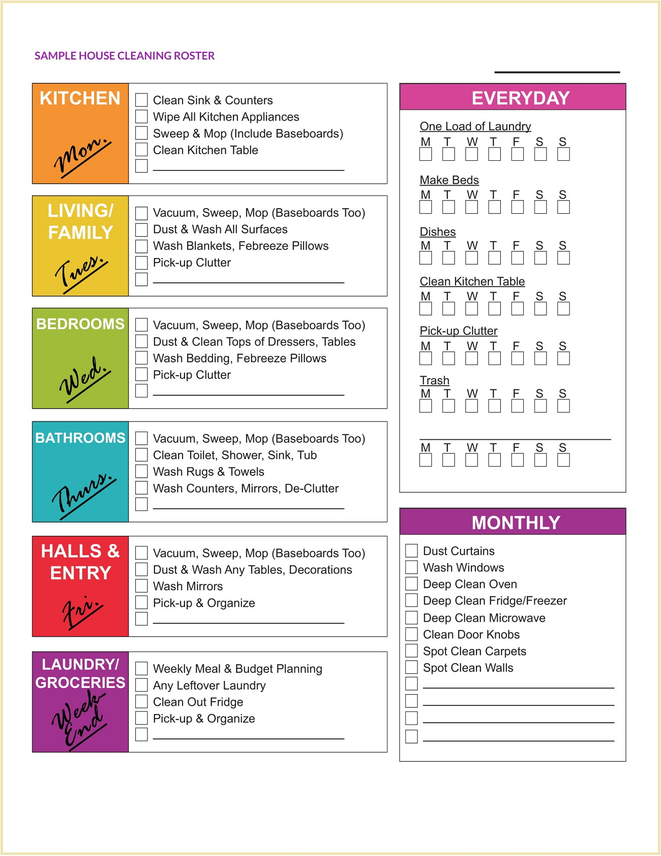 Sample House Cleaning Roster Template PDF