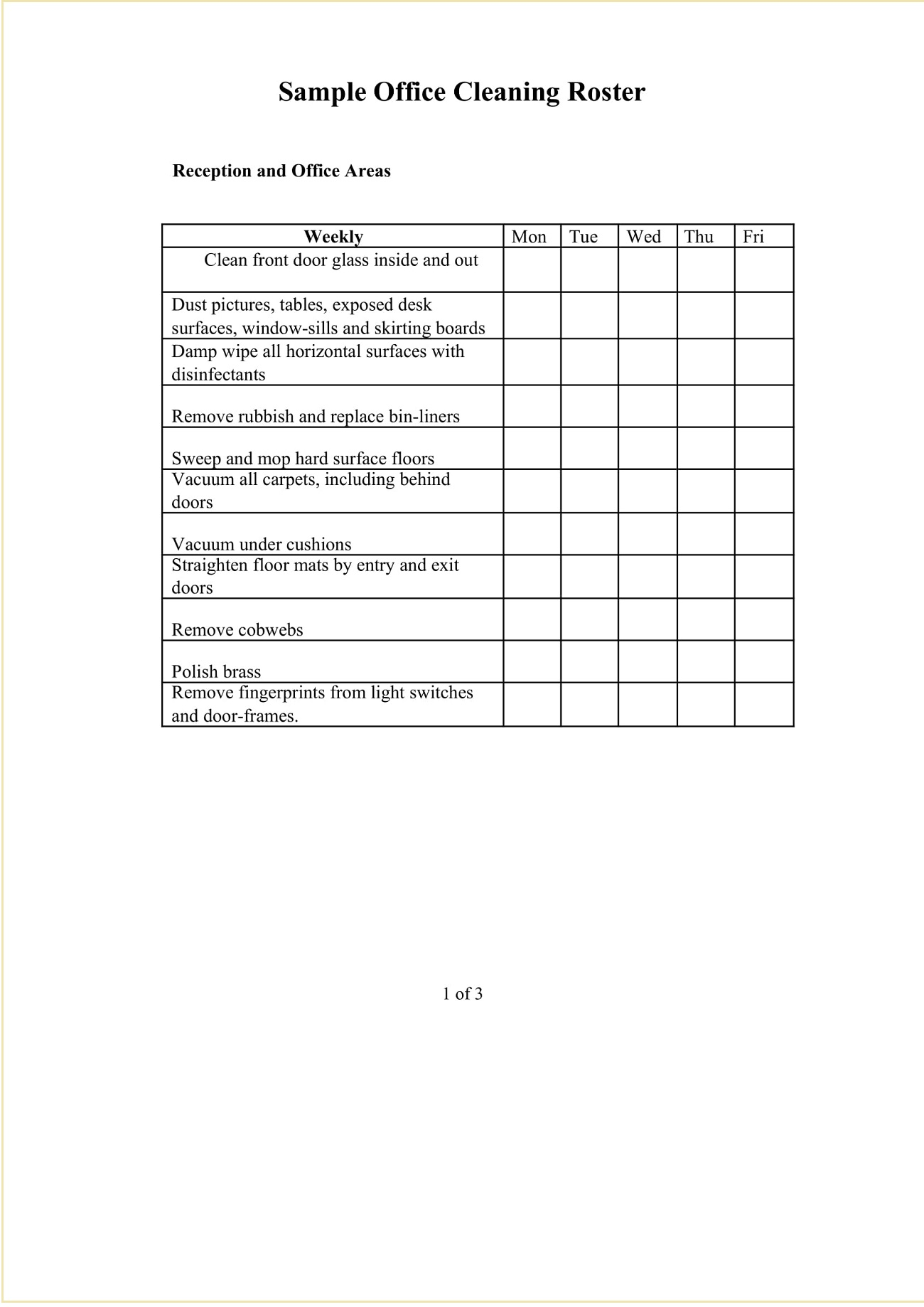 Sample Office Cleaning Roster Template Word
