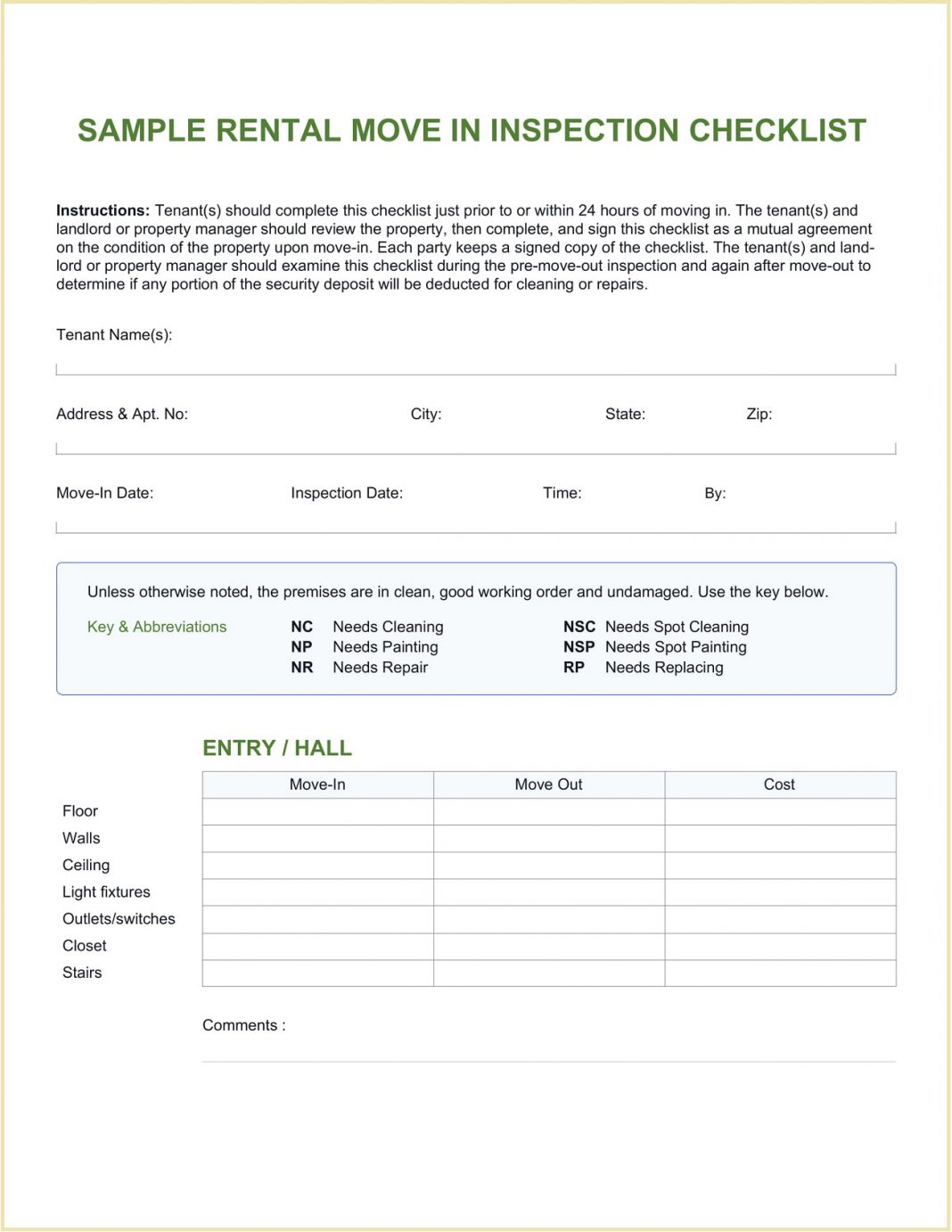 Sample Rental Move In Checklist Template Word Property Inspection Editable Move-in Doc  Large