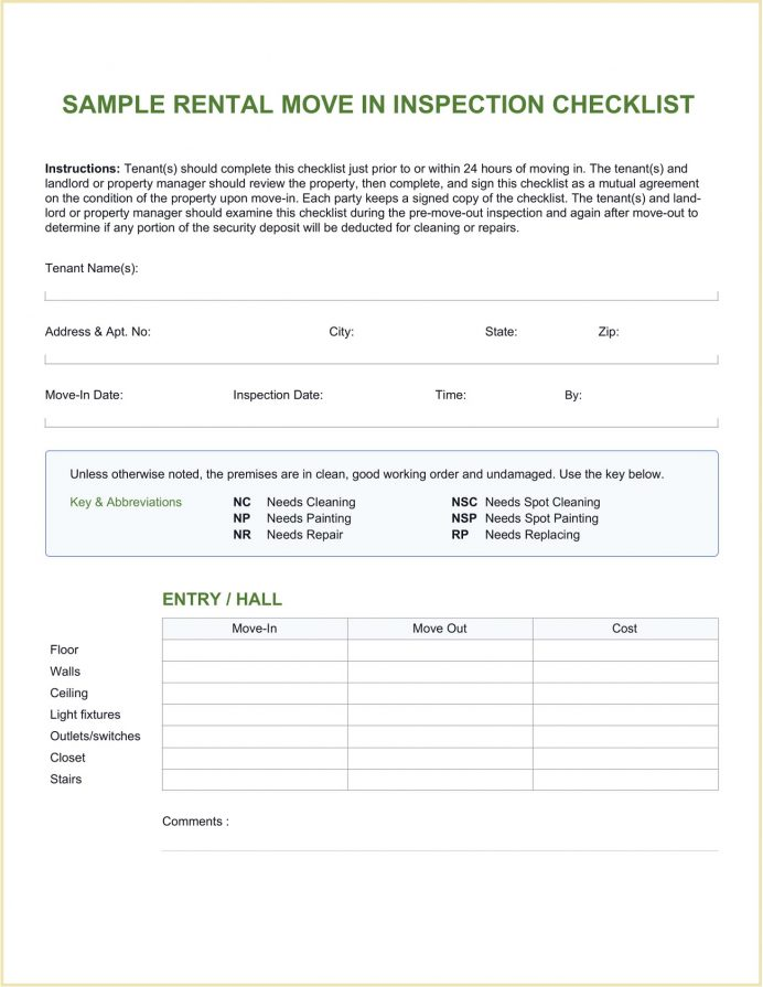 Sample Rental Move In Checklist Template Word Free Inspection Editable Move-in Form