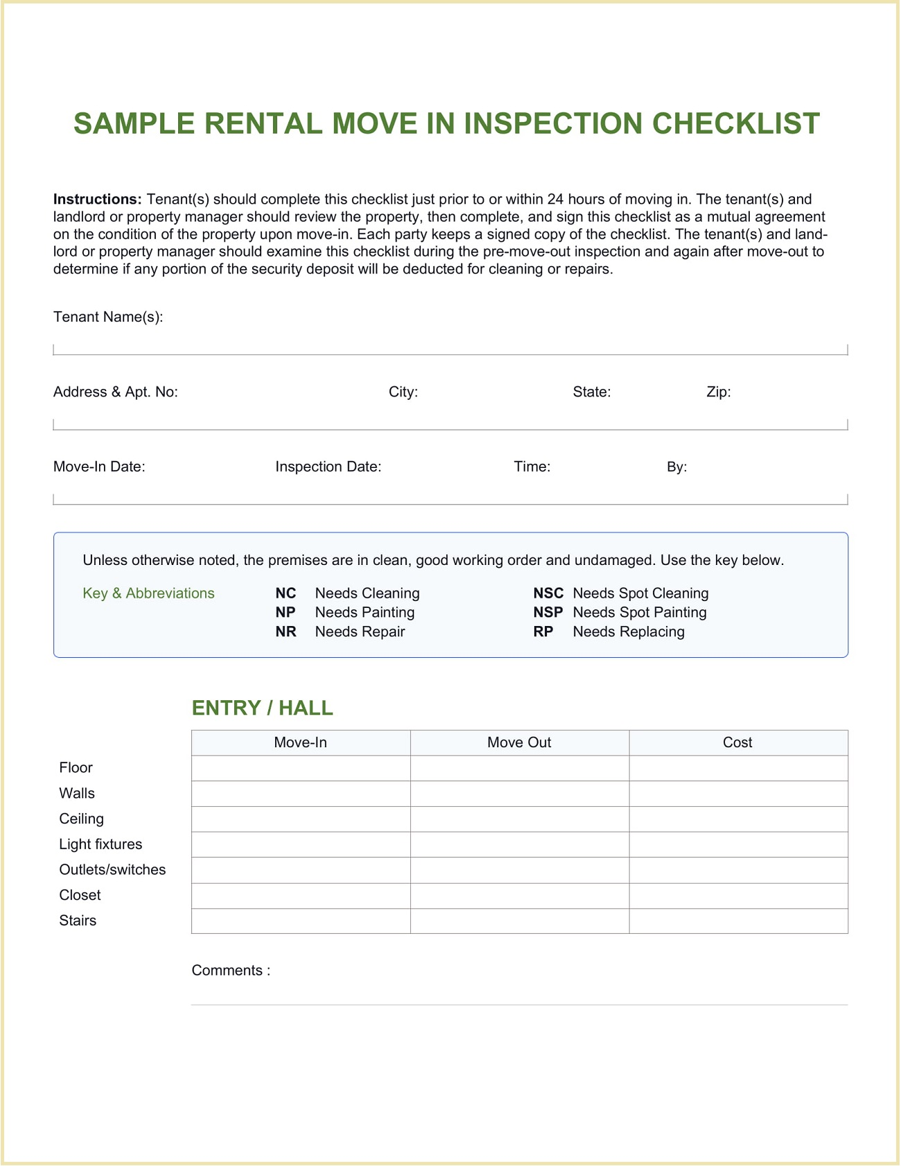 Sample Rental Move In Checklist Template Word Property Inspection Editable Move-in Doc  Full