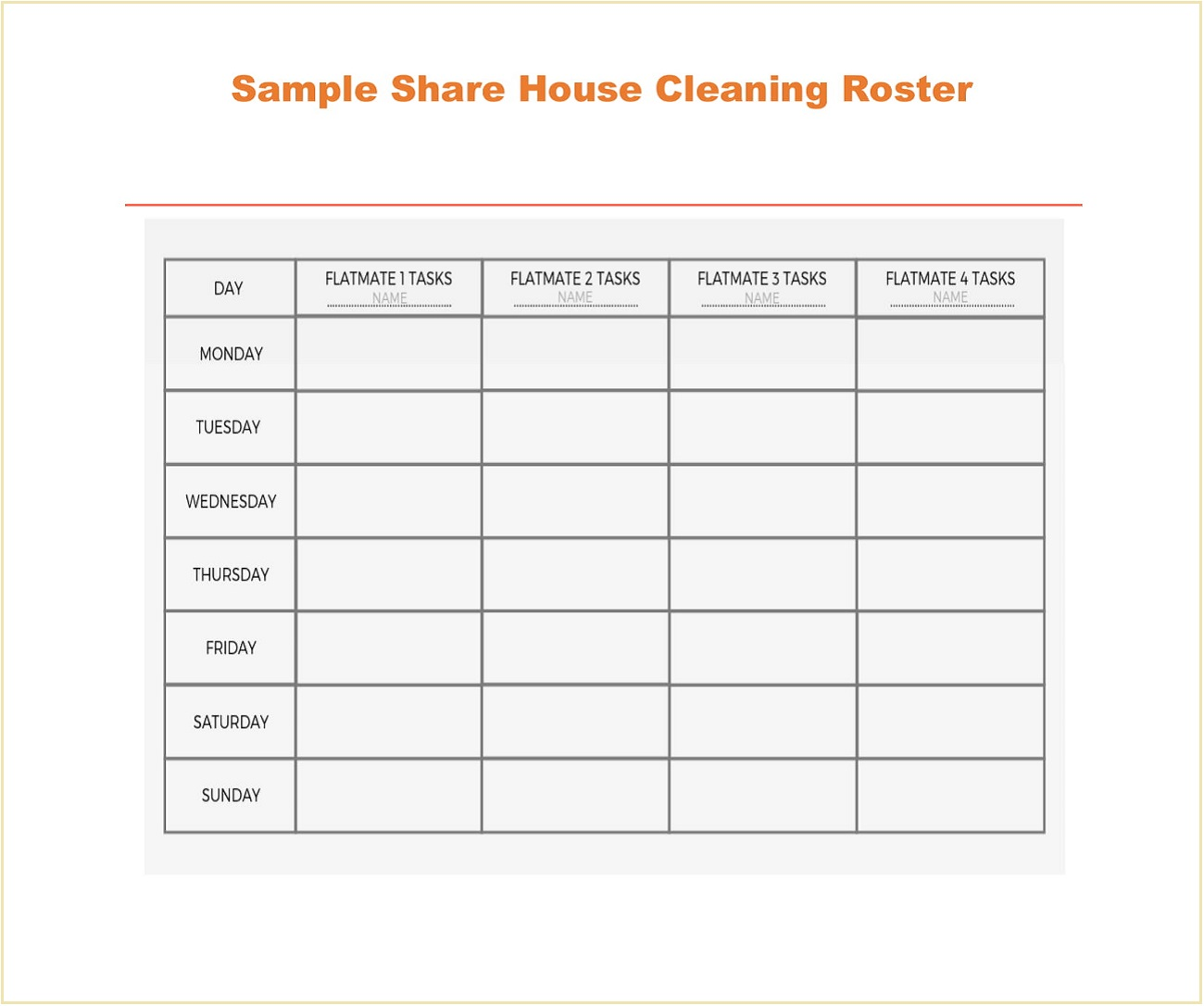 Sample Share House Cleaning Roster Template Word
