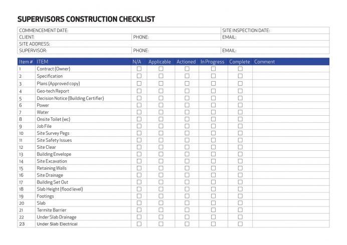 Sample Supervisors Building Sonstruction Checklist Template PDF Checklist Building Construction Supervision Checklist Template Sample