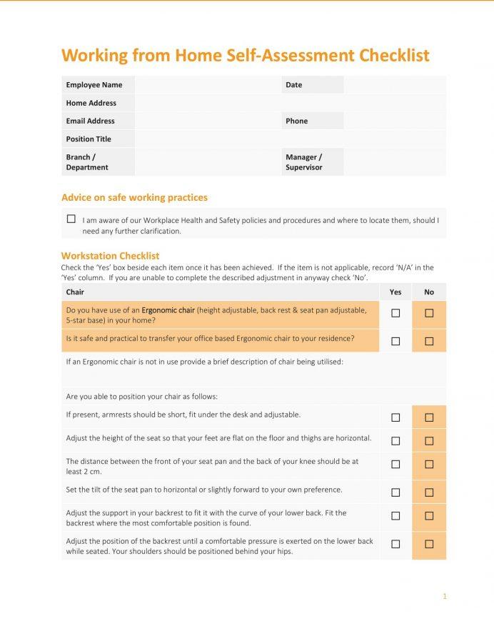 Sample Home Based Work Self Assessment Checklist Template PDF Checklist Home Based Work Self Assessment Checklist Template Sample
