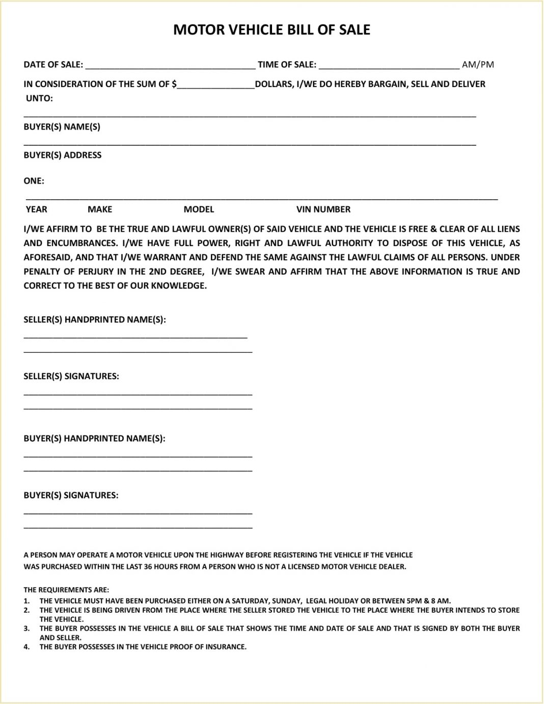 Weld County Colorado DMV Motor Vehicle Bill Of Sale Form PDF Adams Is A Required In Selling Car General Mesa  Template Large