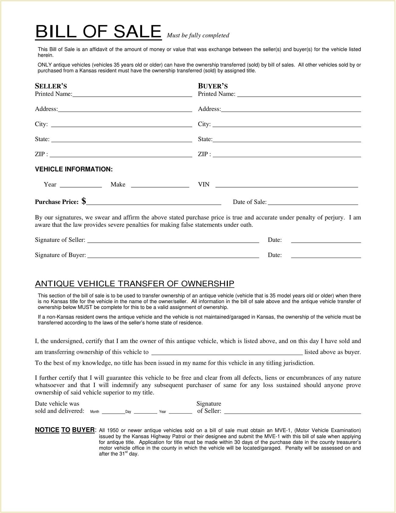 Kansas Motor Vehicle Bill of Sale Template PDF