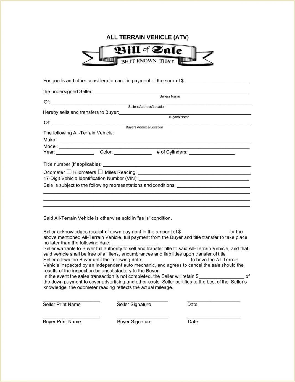 ATV Bill Of Sale Form Template PDF Atv Pa Mn Oregon No Title Wisconsin  Example All-Terrain Vehicle (ATV) Large