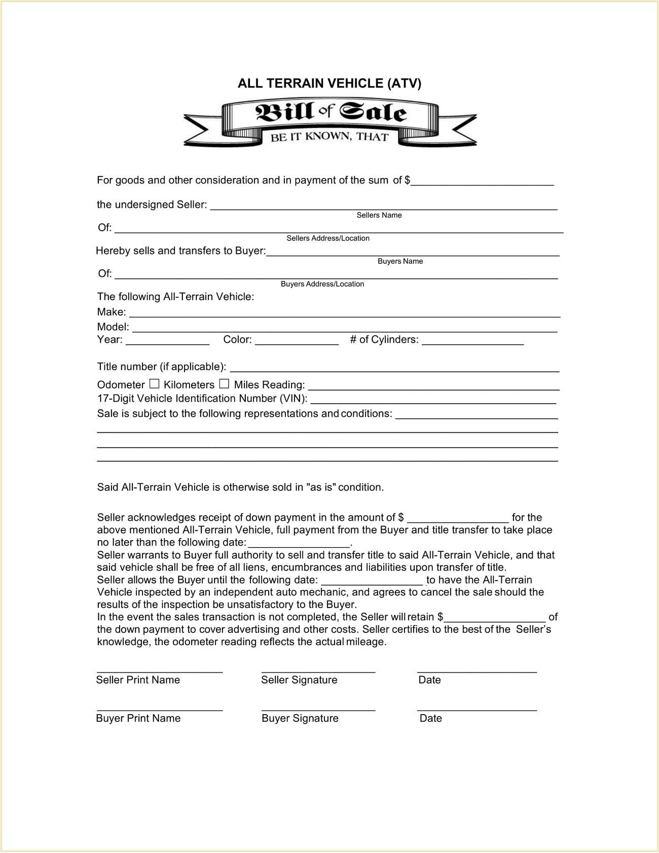 ATV Bill Of Sale Form Template PDF Atv Pa Mn Oregon No Title Wisconsin  Example All-Terrain Vehicle (ATV) Full