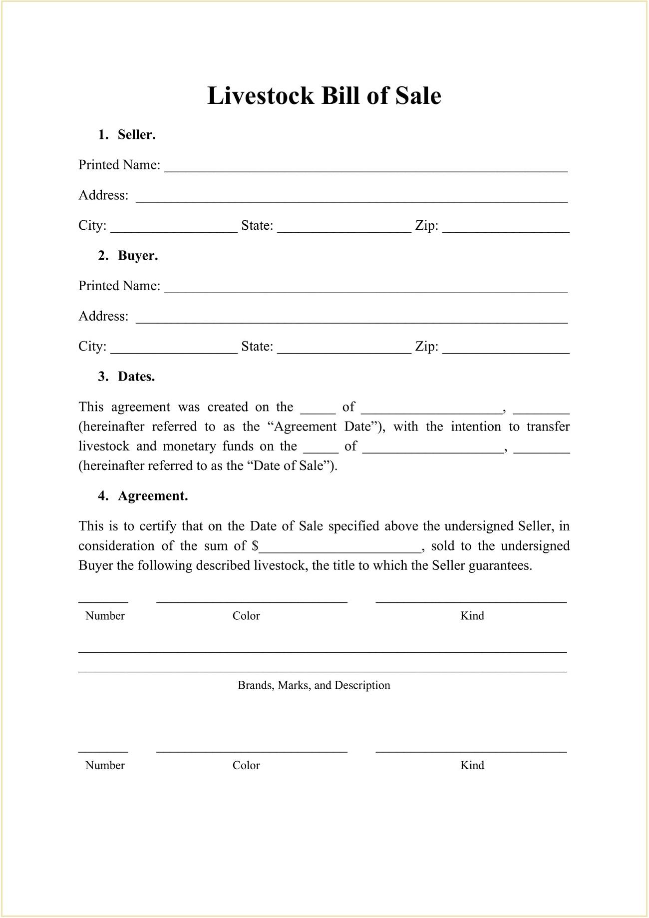 Animal Farm Bill of Sale PDF