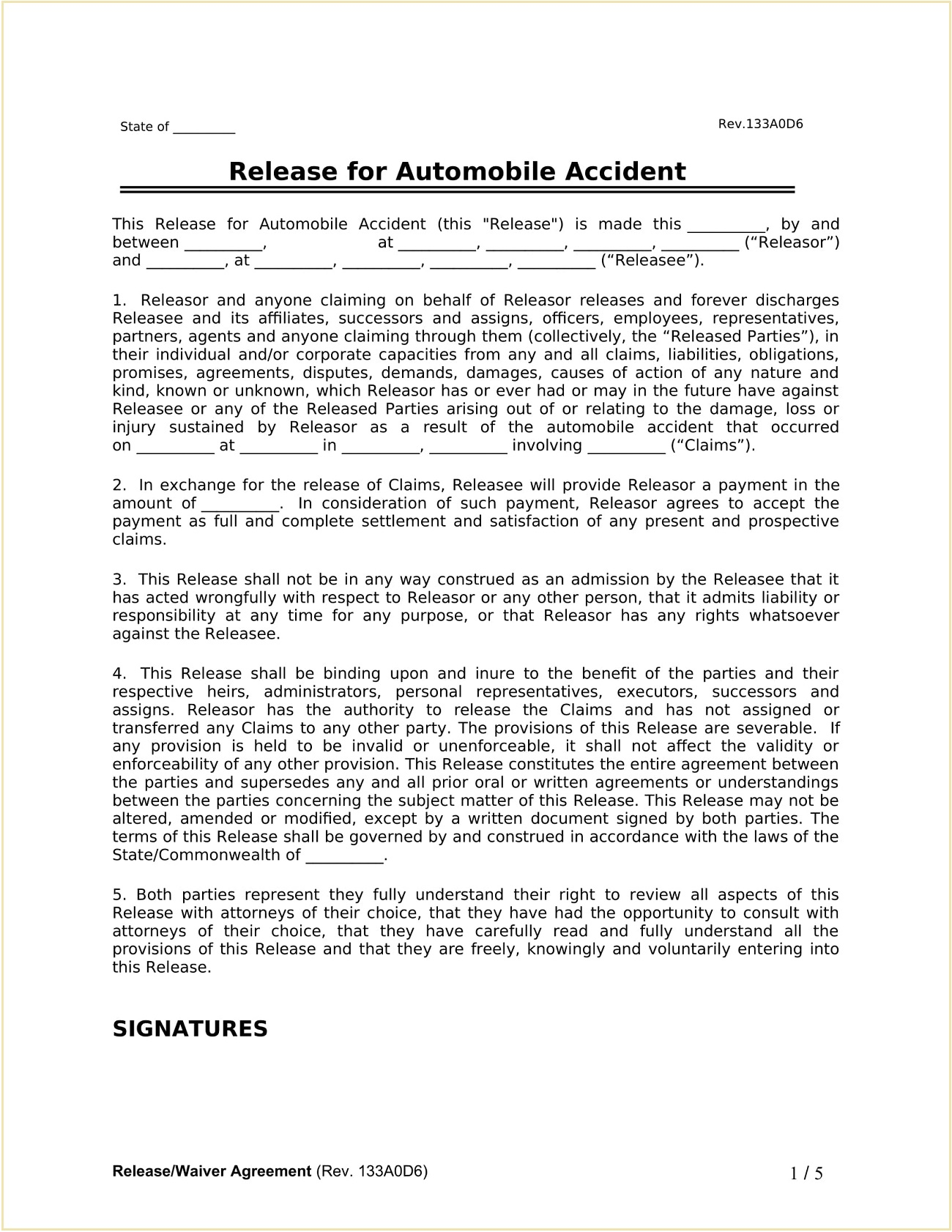 Auto Accident Release Waiver Form Template Word