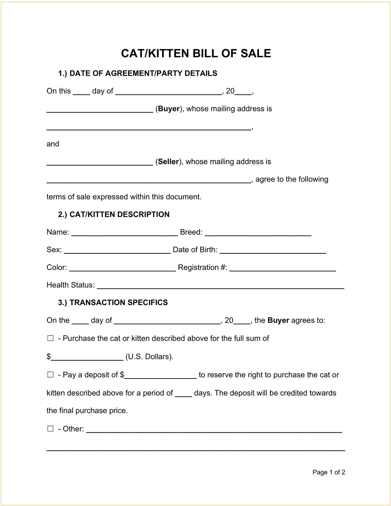 Cat Kitten Bill of Sale Form Template PDF