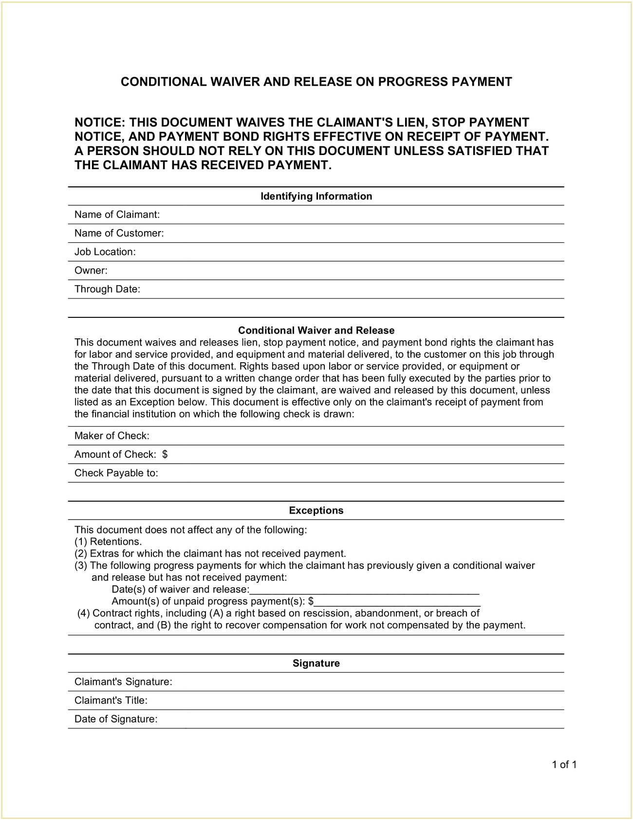 Conditional Mechanic Lien Release Template PDF