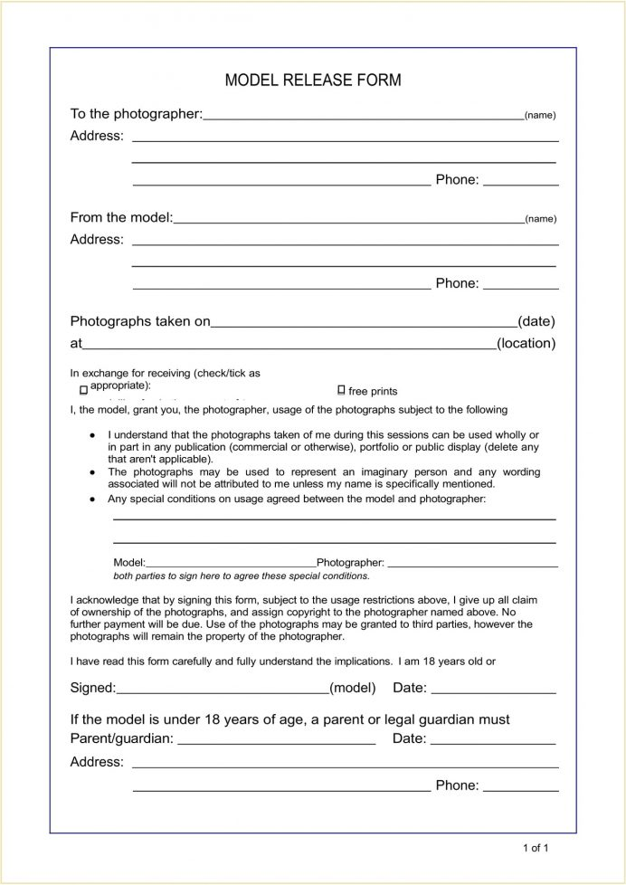 Copyright Model Photo Release Form Template Word Doc Release Model Photo Copyright Release Form