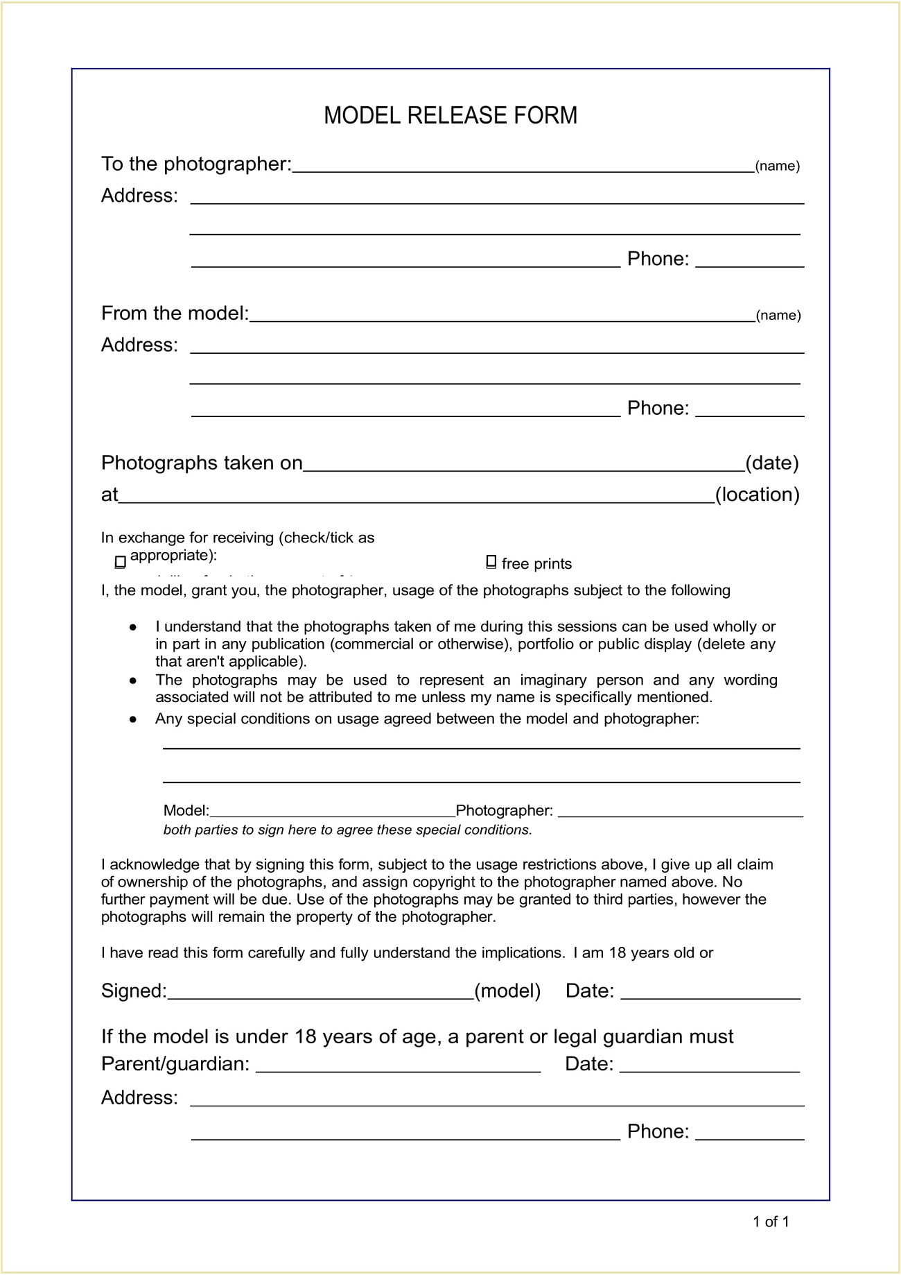 Copyright Model Photo Release Form Template Word Doc