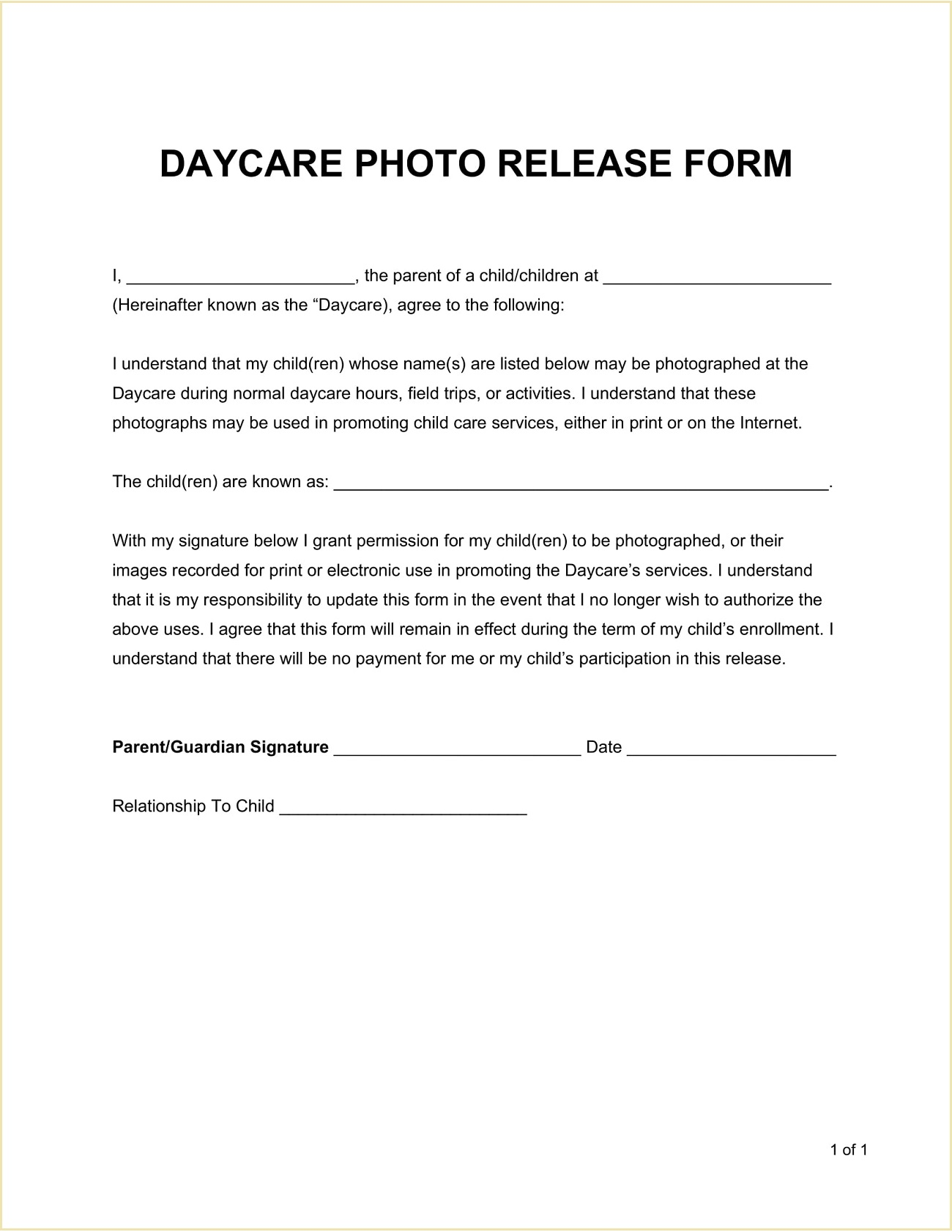 Daycare Photo Child Release Form Template Word