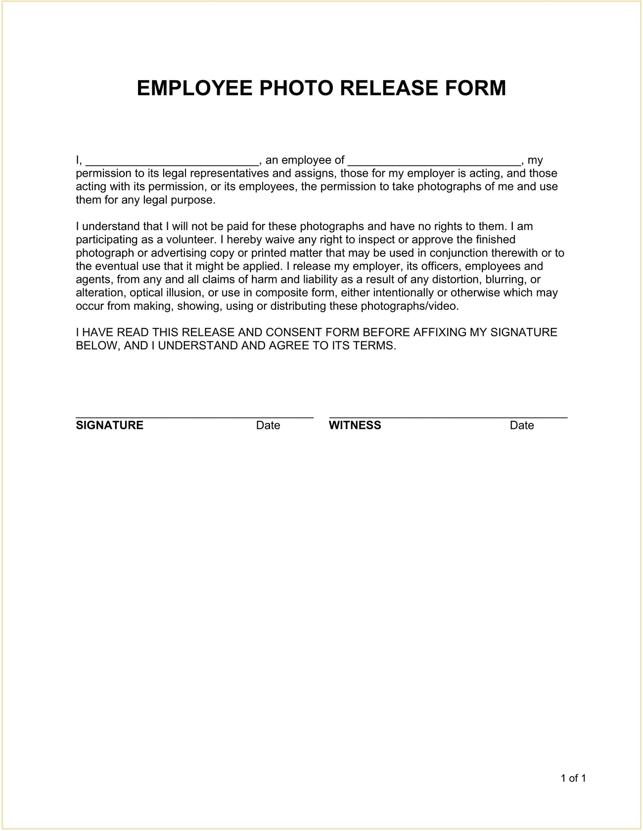 Employee Photo Release Form Template Word