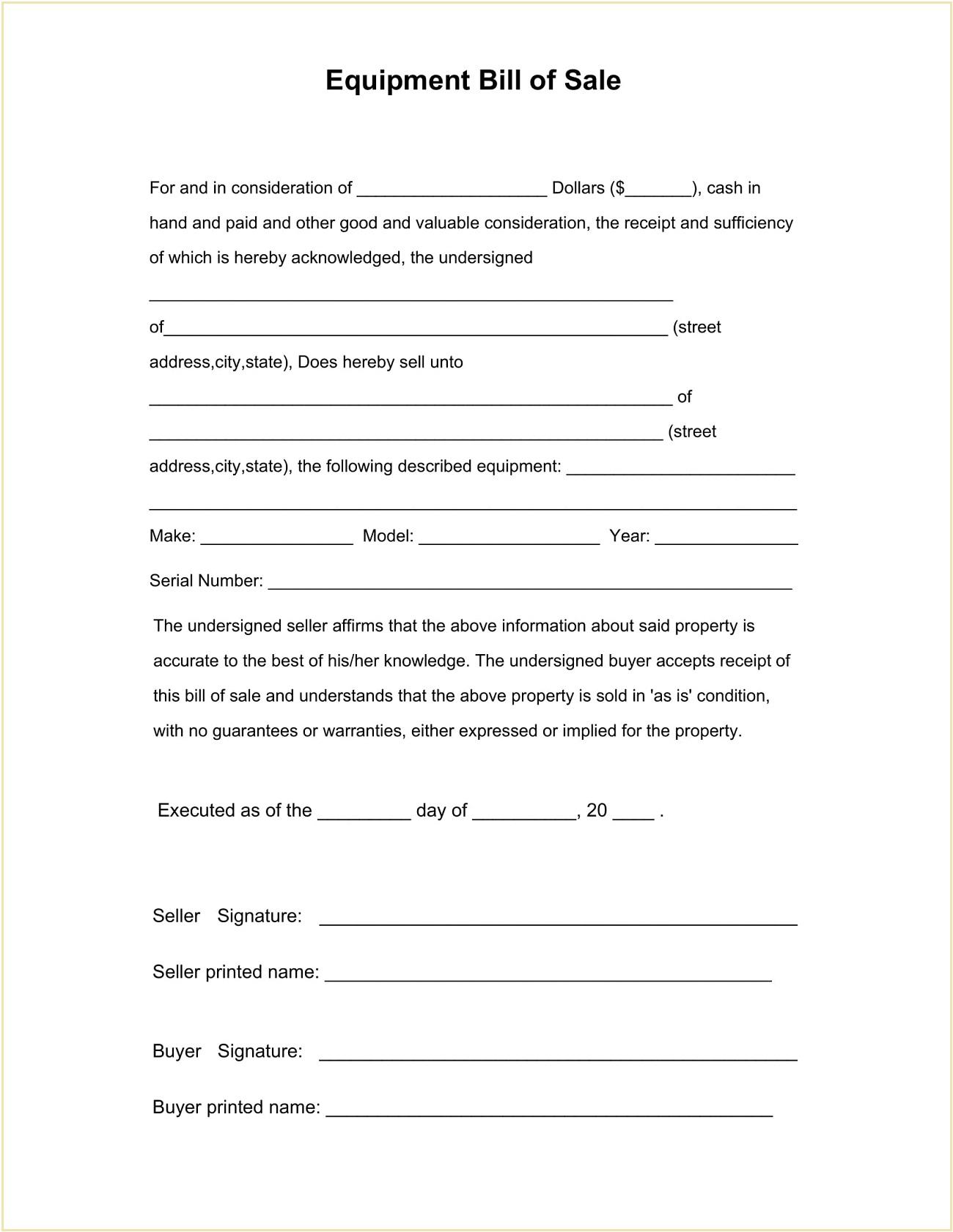 Equipment Bill of Sale Form Template PDF
