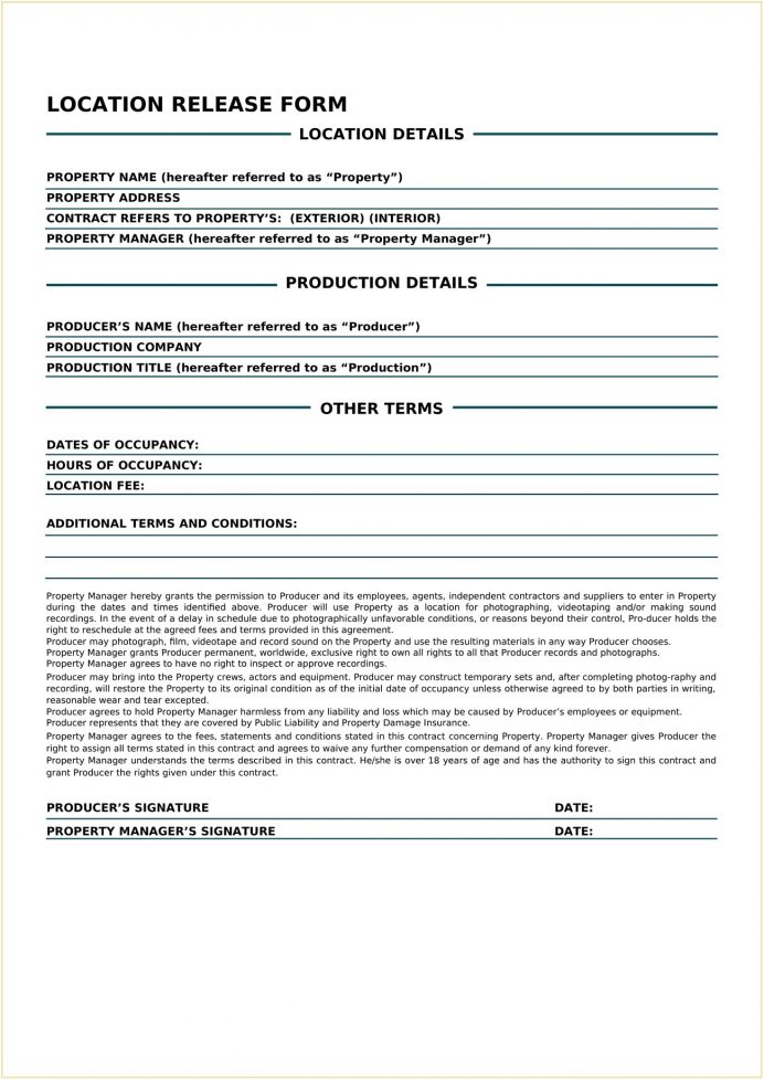 Film Location Release Form Template Word Release Location Release of Liability Form