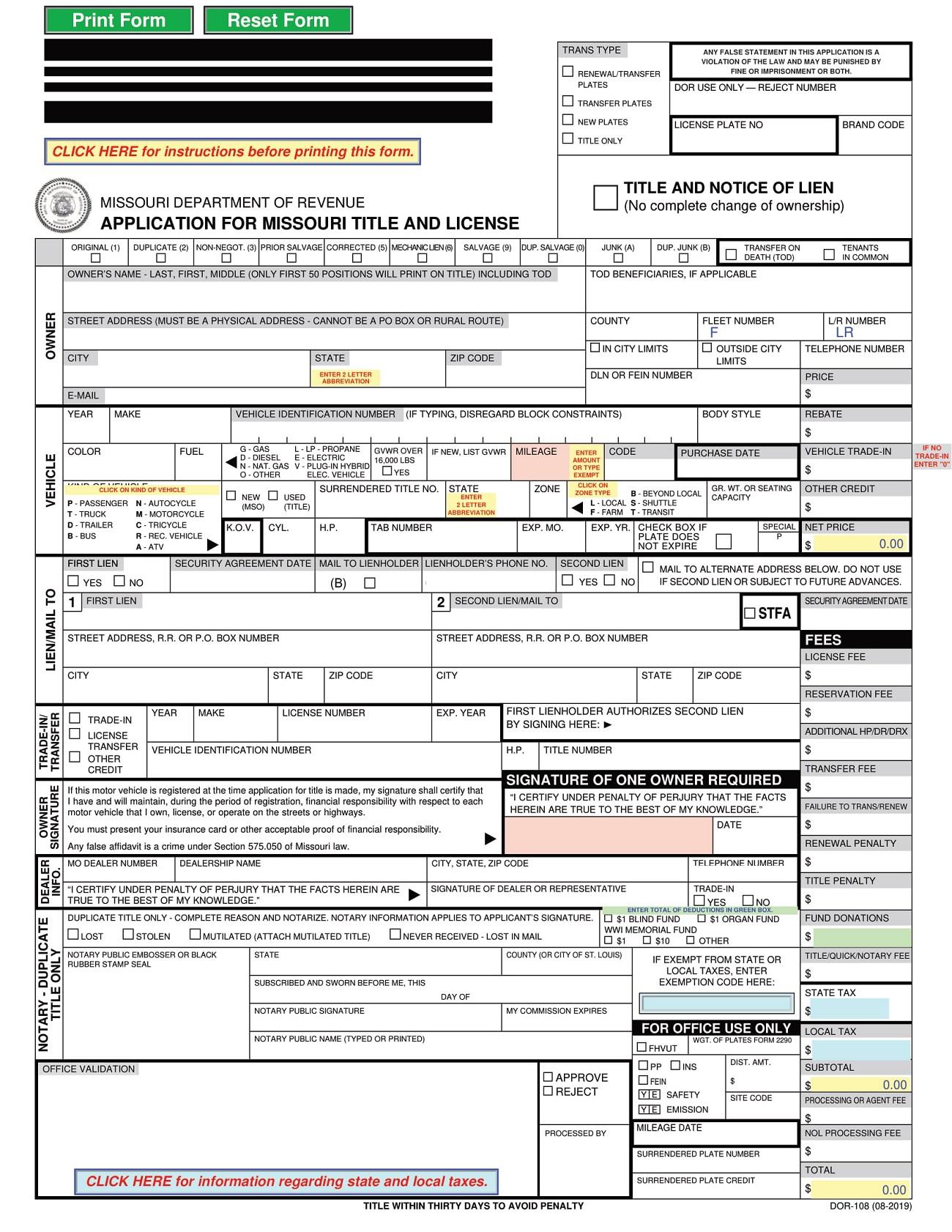 Form DOR-108 Missouri Application for Missouri Title and License Template PDF