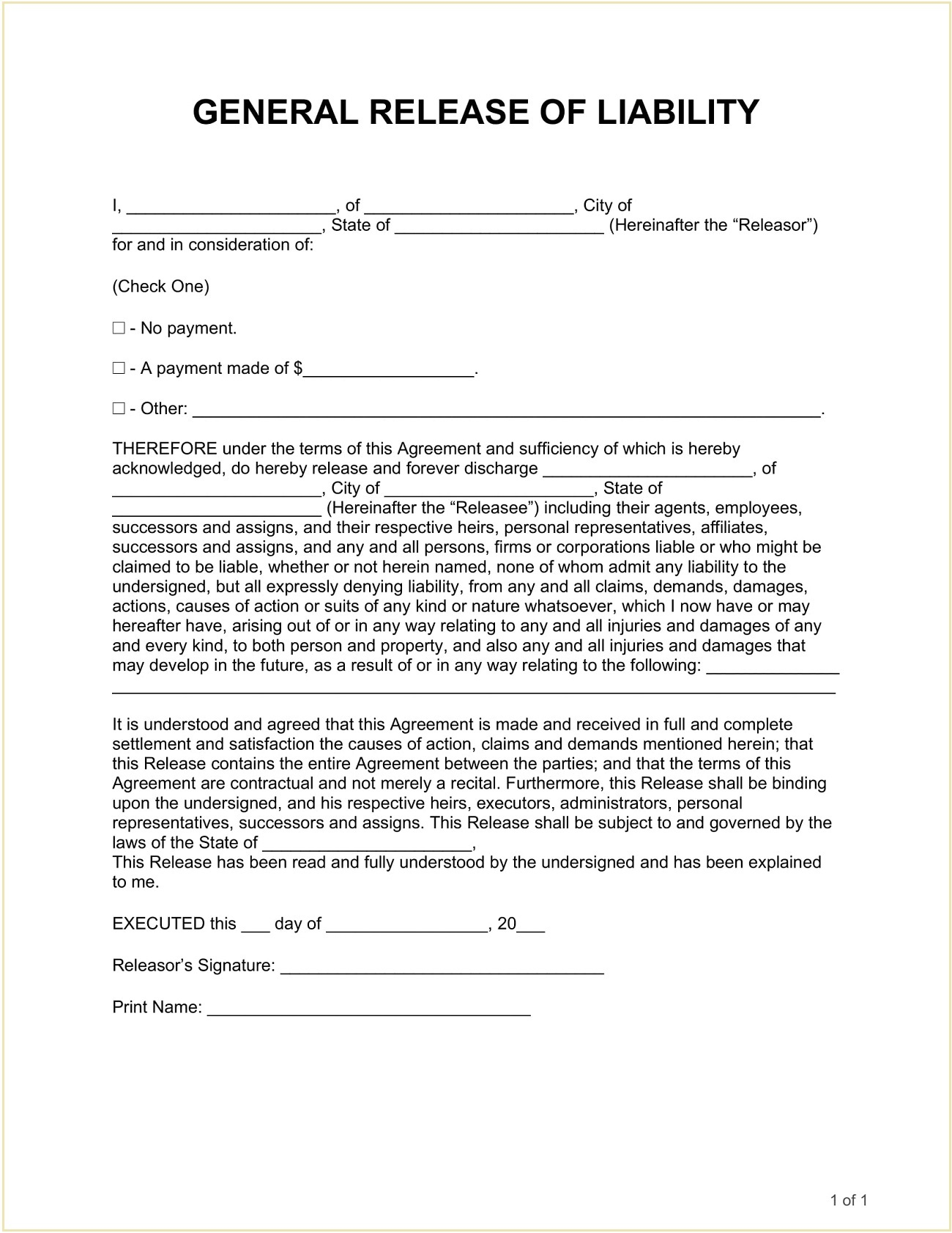 General Hold Harmless Agreement Form Template Word