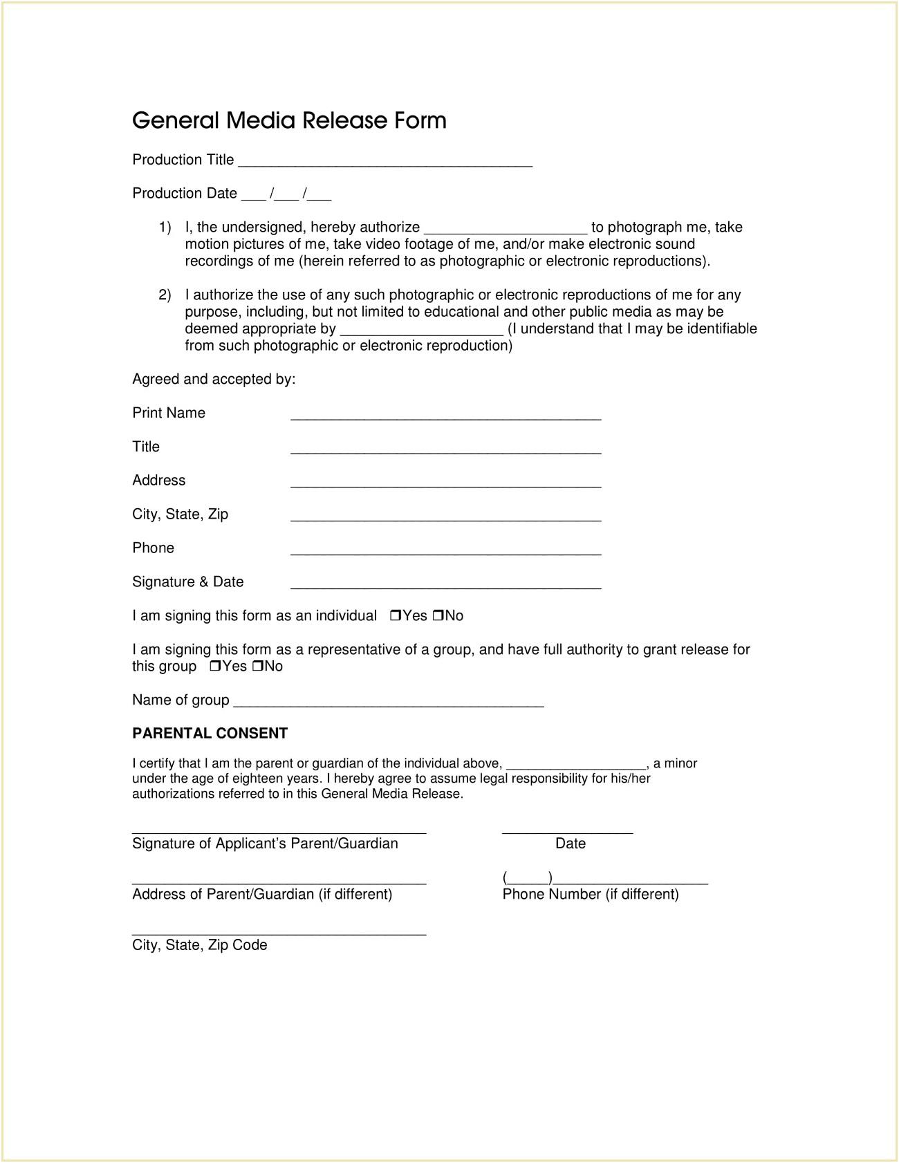 General Media Release Form Template PDF