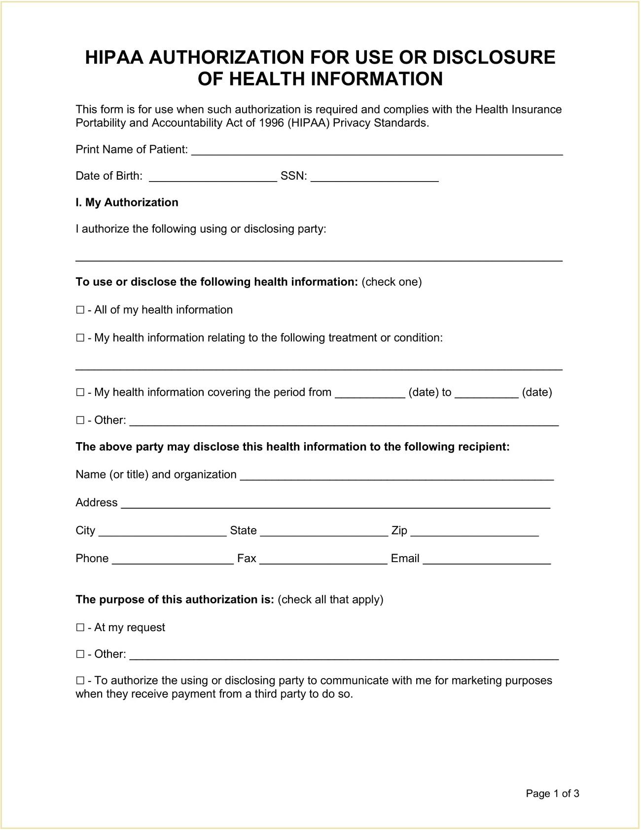 HIPAA Authorization Form Template Word
