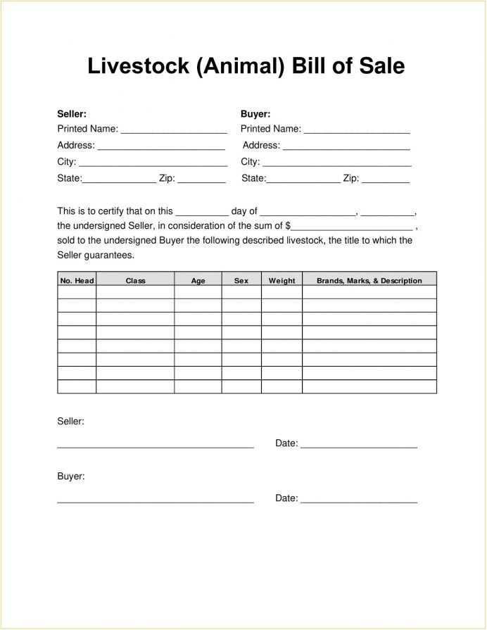 Livestock Bill Of Sale Form PDF Template Goat Invoice Alberta Private Contract  Example