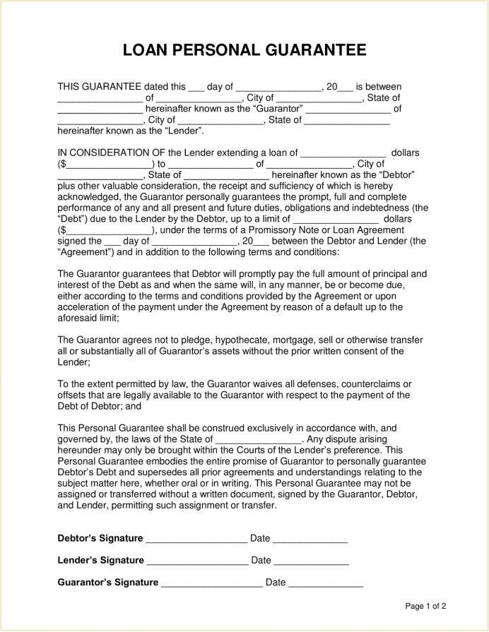 Loan Personal Guarantee Form Template PDF Agreement Loan Personal Guarantee Form Template Example