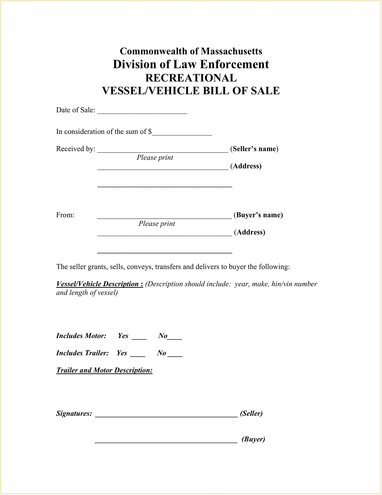 Massachusetts Recreational Vessel Boat Vehicle Bill of Sale Form Template PDF