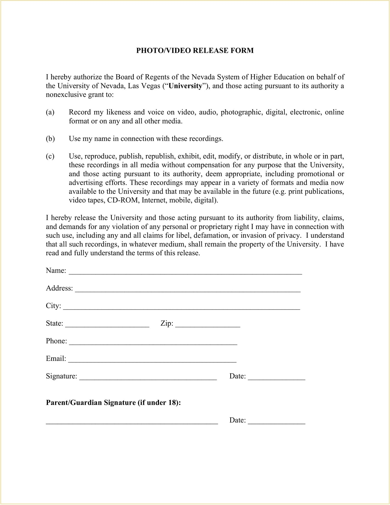 Media Photo Video Release Form Template PDF