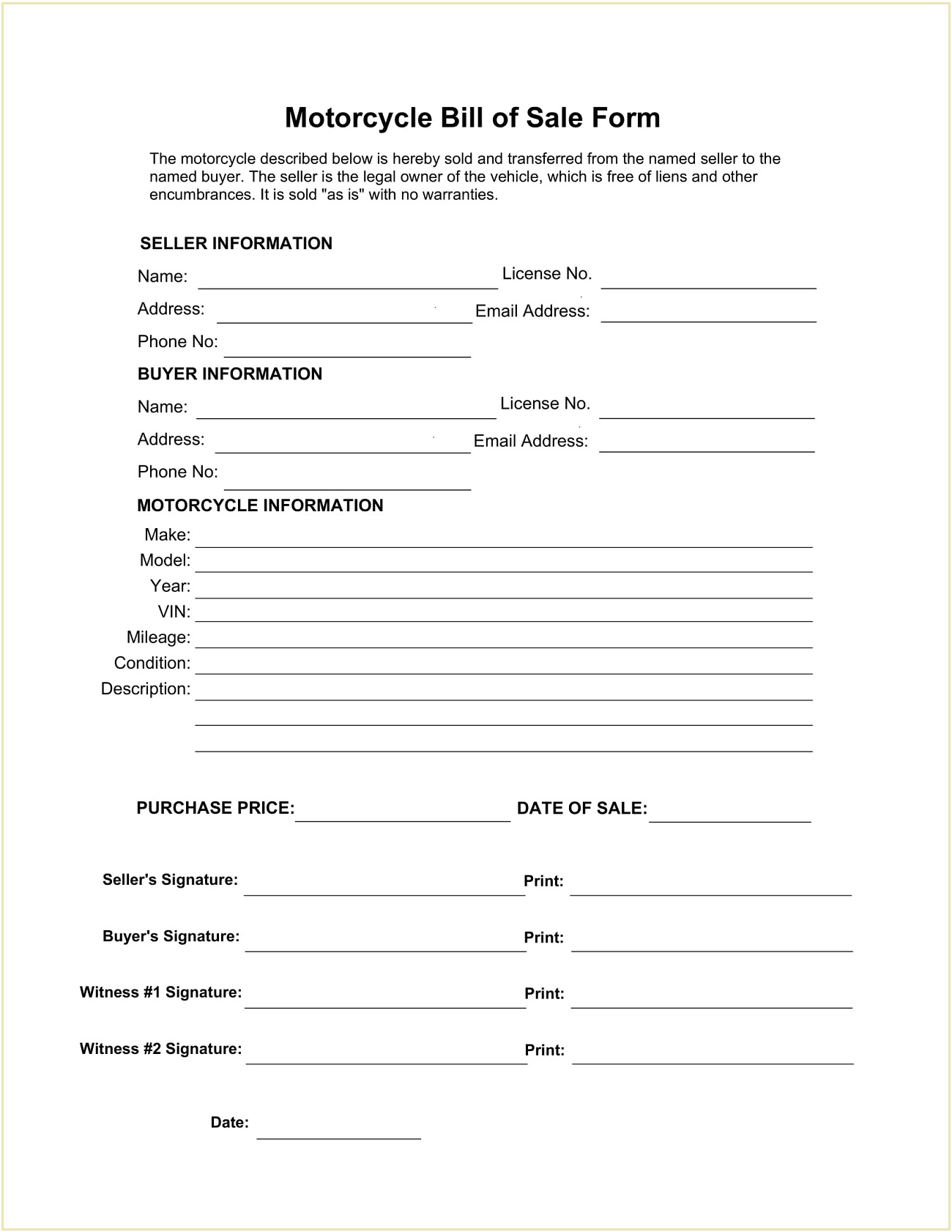 Motorcycle Bill of Sale Form Template PDF