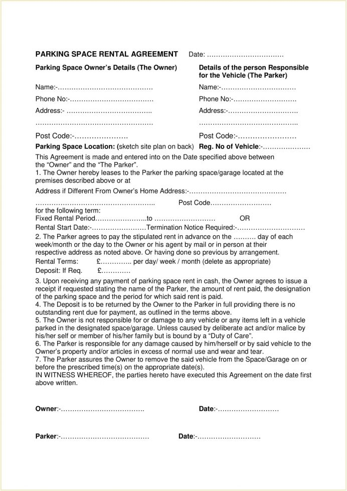 Parking Space Rental Agreement Form Template PDF Agreement Parking Space Rental Lease Agreement Template