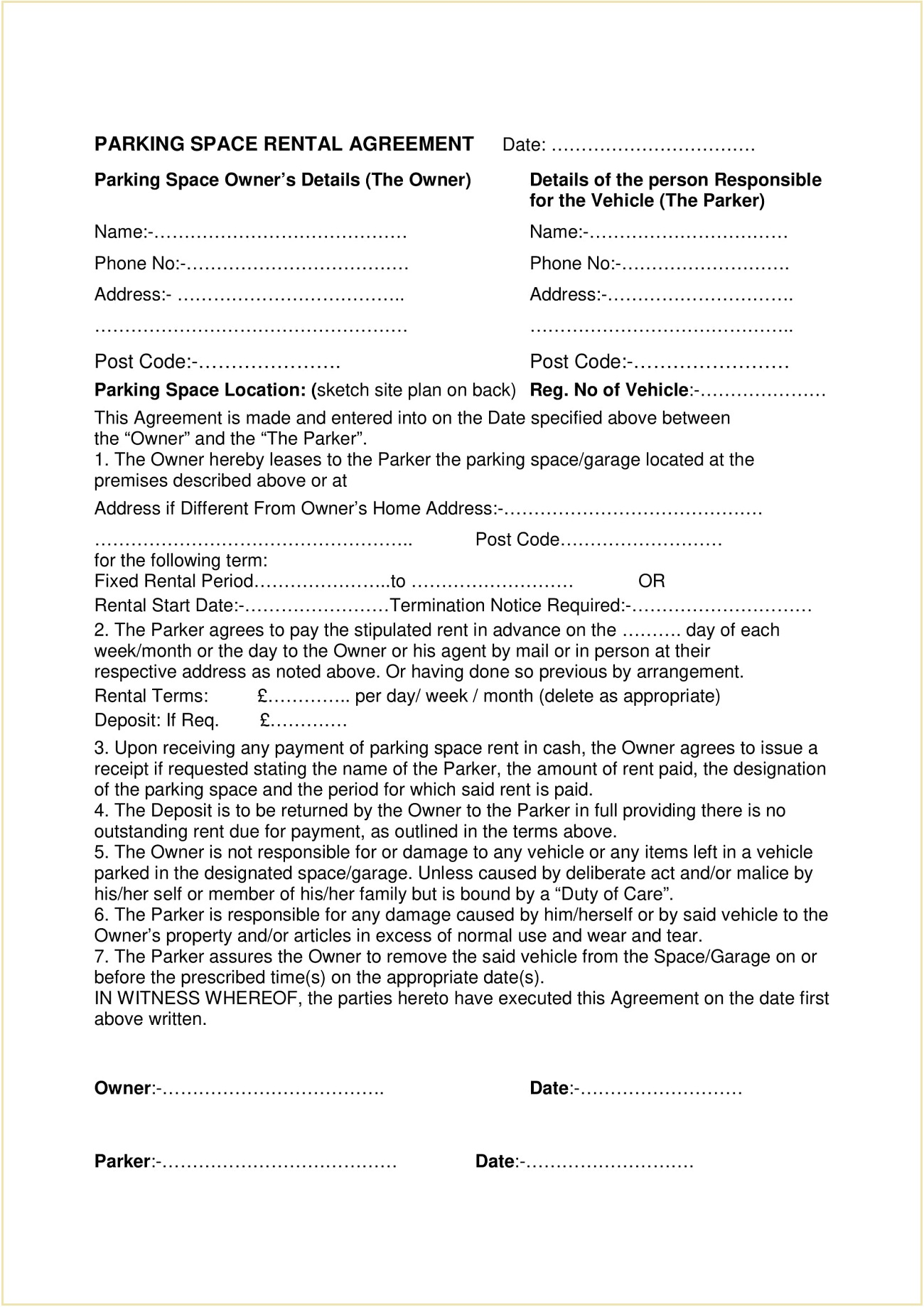 Parking Space Rental Agreement Form Template PDF