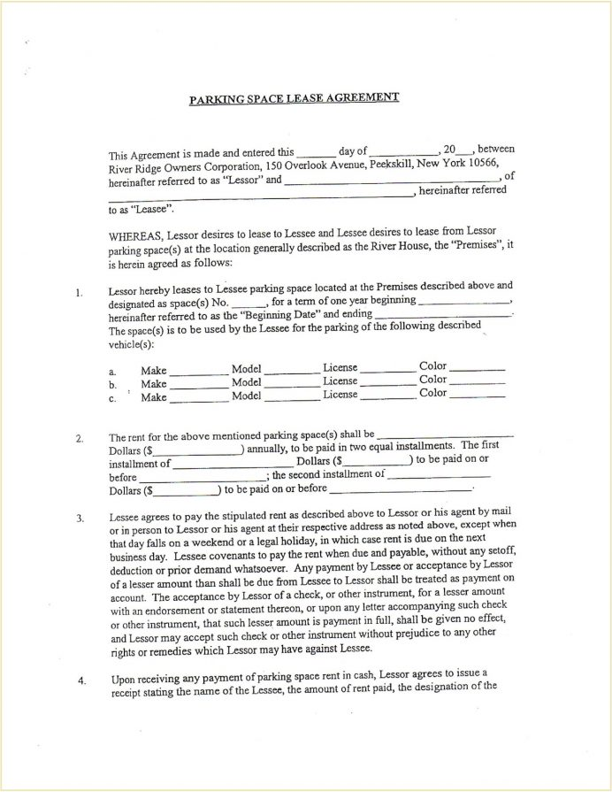 Parking Space Rental Contract Form Template PDF Agreement Parking Space Rental Lease Agreement Template