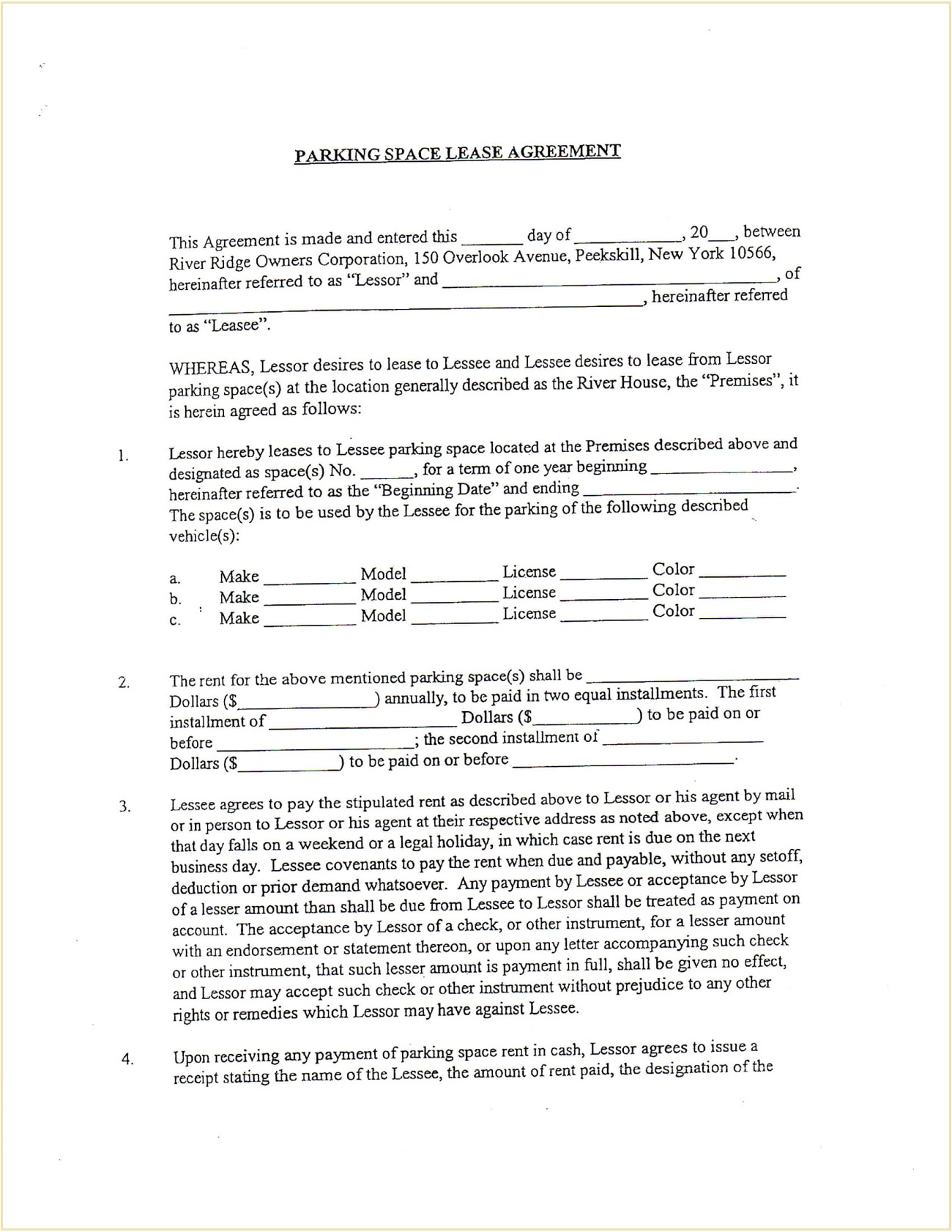 Parking Space Rental Contract Form Template PDF