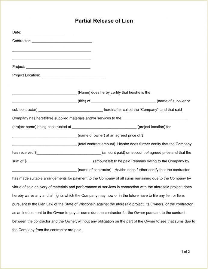 Partial Release Lien Form Template Word Doc Release Partial Release of Lien Form