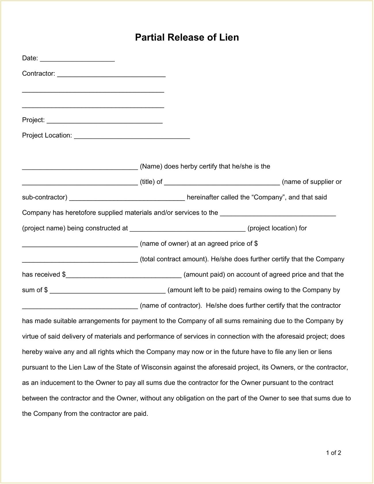 Partial Release Lien Form Template Word Doc
