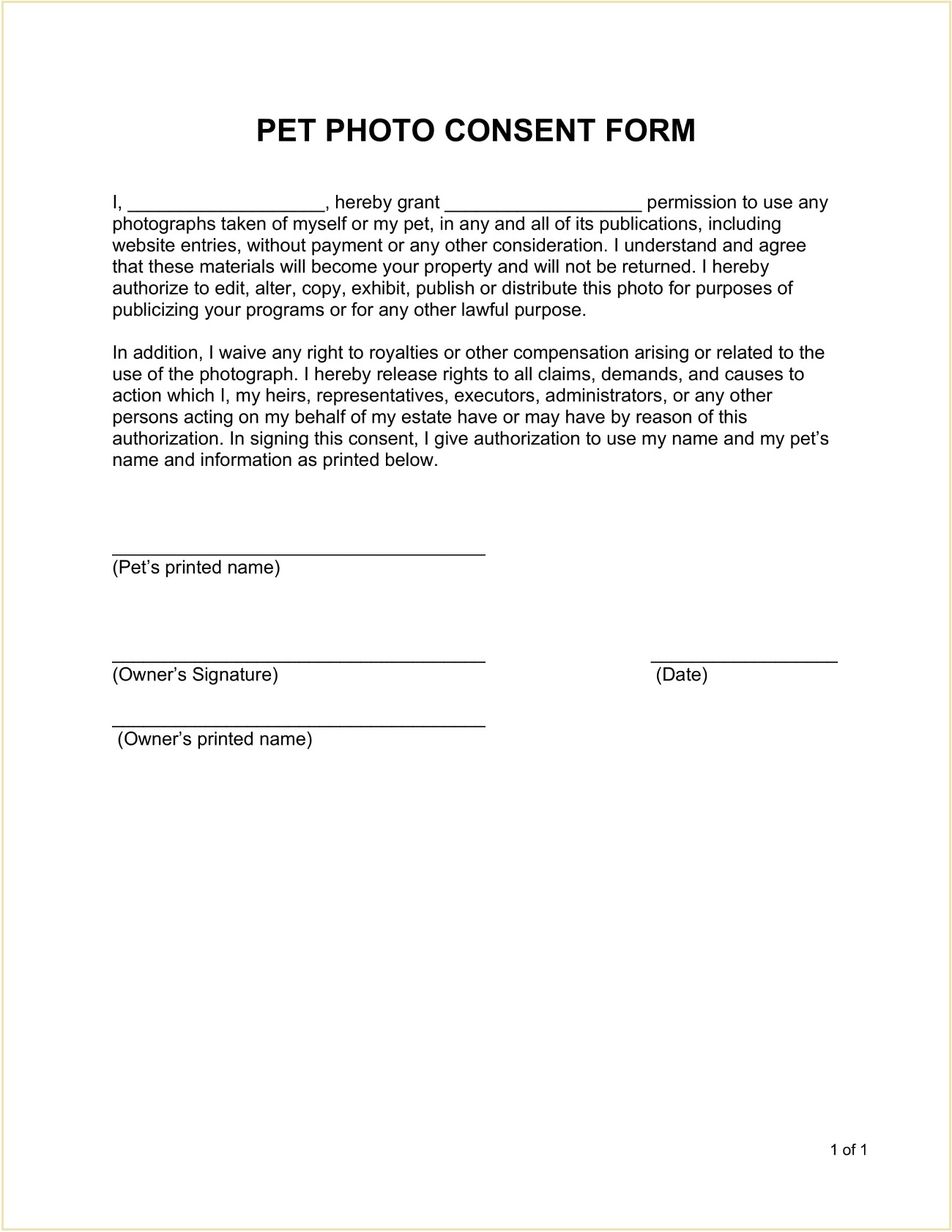 Pet Photo Consent Form Template Word Doc