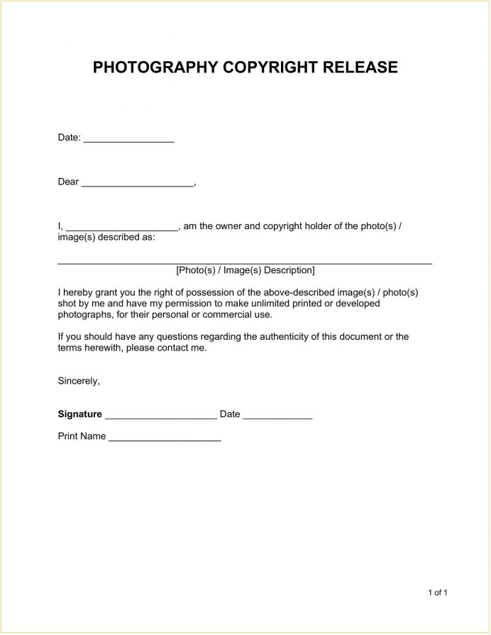 Photography Copyright Release Form Template Word Doc Release Photo Copyright Release Form