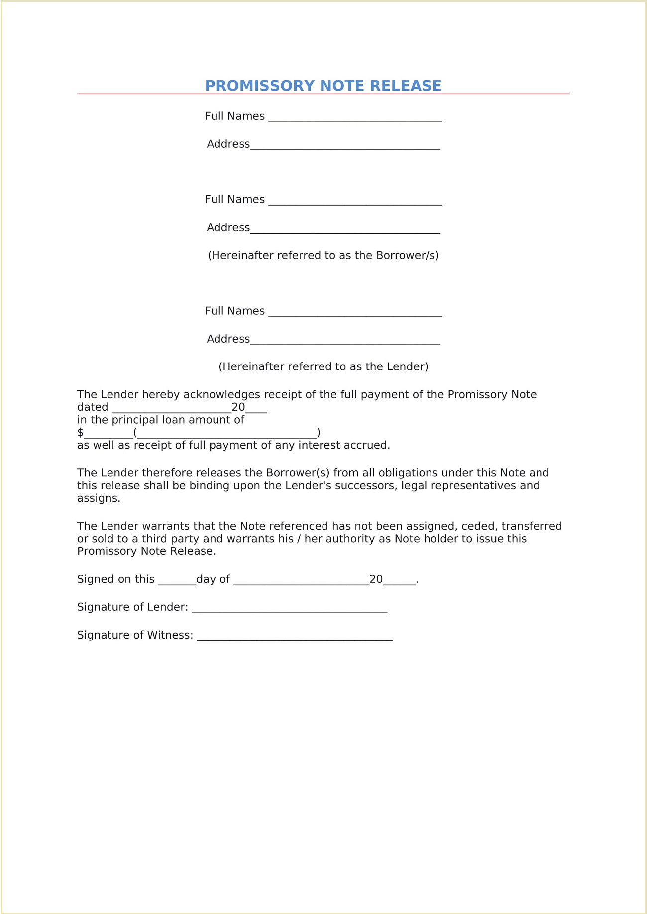 Promissory Note Release Template Word