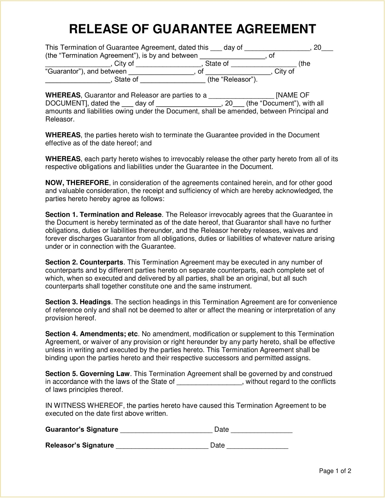 Release of Personal Guarantee Form Template Sample PDF